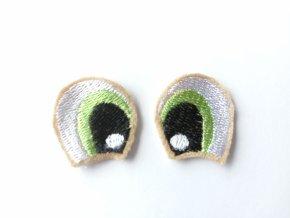 Vyšívané oči tvarované 3 cm světle zelené #2