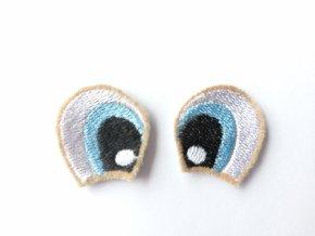 Vyšívané oči tvarované 3 cm světle modré #2