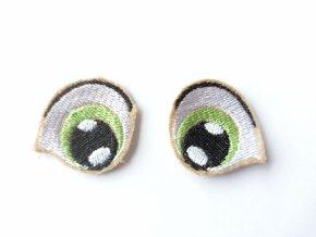 Vyšívané oči tvarované 3 cm světle zelené #3