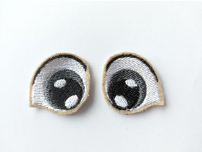 Vyšívané oči tvarované 3 cm šedé #3