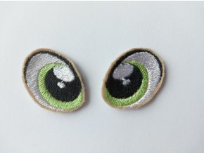 Vyšívané oči tvarované 3 cm světle zelené #4