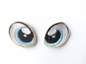 Vyšívané oči tvarované 3 cm světle modré #4