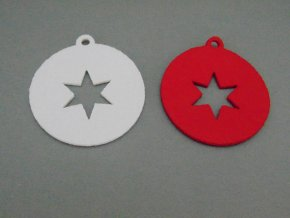 Výsek z filcu ozdoba s hvězdou bílá
