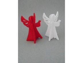 Výsek z filcu 3D anděl červený