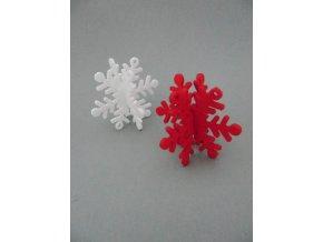 Výsek z filcu 3D vločka červená