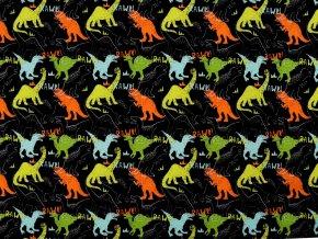 Teplákovina bavlněná nepočesaná s digitálním tiskem dinosaurus
