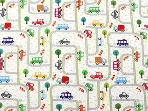 Úplet bavlněný s digitálním tiskem auta