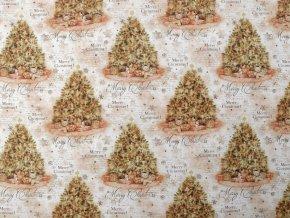 Dekorační látka Loneta vánoční stromeček