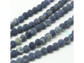 Achát tmavě modrý frosted 6 mm