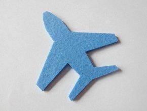 Výsek z filcu letadlo modré