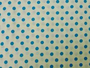 Plátno Střední modrý puntík na bílé