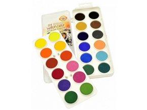 Koh-i-Noor vodové barvy velké průměr 30 mm 24 barev