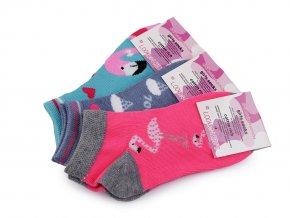 Dívčí bavlněné ponožky kotníkové, plameňák