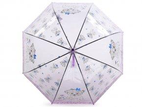 Dívčí průhledný vystřelovací deštník pejsek