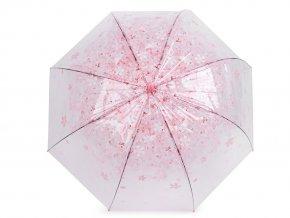 Dívčí průhledný vystřelovací deštník s květy