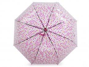 Dívčí průhledný vystřelovací deštník s puntíky