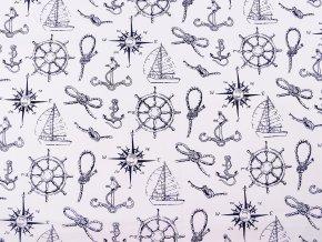 Bavlněná látka námořnický vzor