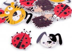 Dřevěný dekorační knoflík zvířátka - pes, ježek, beruška, tygr