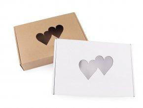 Papírová krabice s průhledem - srdce