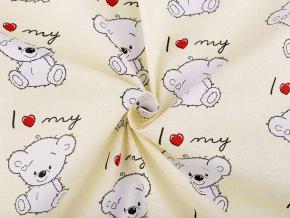 Bavlněná látka medvídek