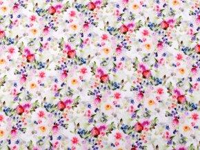 Úplet bavlněný s digitálním tiskem květy