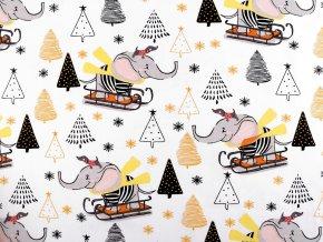 Vánoční bavlněná látka slon