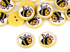 """Knoflík dětský velikost 24"""" včelka"""