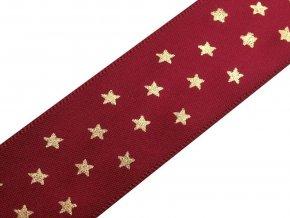 Stuha hvězdy šíře 25 mm vánoční