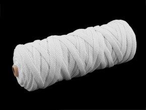 Bavlněná šňůra plochá tkaná / macrame šíře 8-10 mm