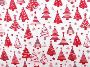 Vánoční bavlněná látka stromeček