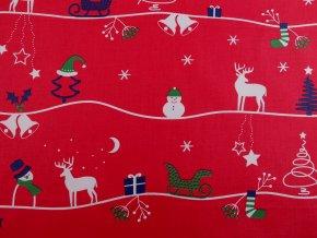 Bavlněná látka vánoční