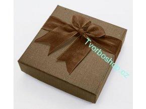 Dárková krabička zlato- hnědá s mašlí