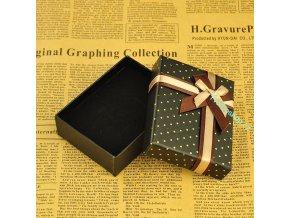 Dárková krabička zlato- hnědá 2 s puntíky