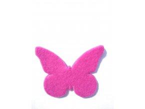 Výsek z filcu motýl magenta