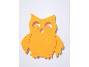 Výsek z filcu sova žlutá