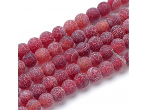 Achát tmavě červený frosted s kresbou 8 mm