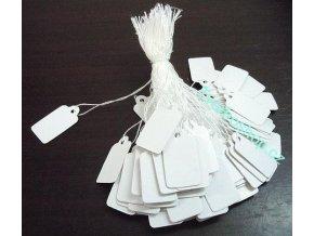 Kartičky s provázkem bílé 100 ks