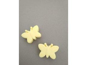 Silikonový korálek motýlek sv.žlutý