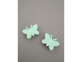 Silikonový korálek motýlek mentolový