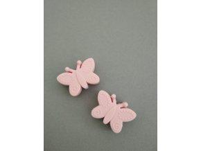 Silikonový korálek motýlek sv. růžový