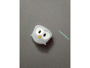 Silikonový korálek sovička malá šedá