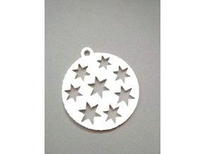 Výsek z filcu ozdoba s hvězdami bílá