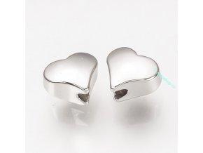 Korálek srdce stříbrné