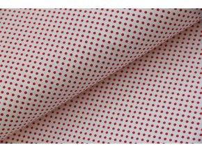 Plátno malý červený puntík na bílé