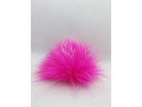Bambule 10 cm Růžová neon se stříbrnou nitkou