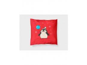 "Látkový panel ""tučňák červený""- polštář"
