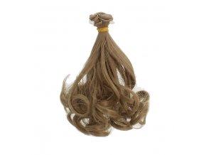 Vlasy na panenku vlnité hnědé