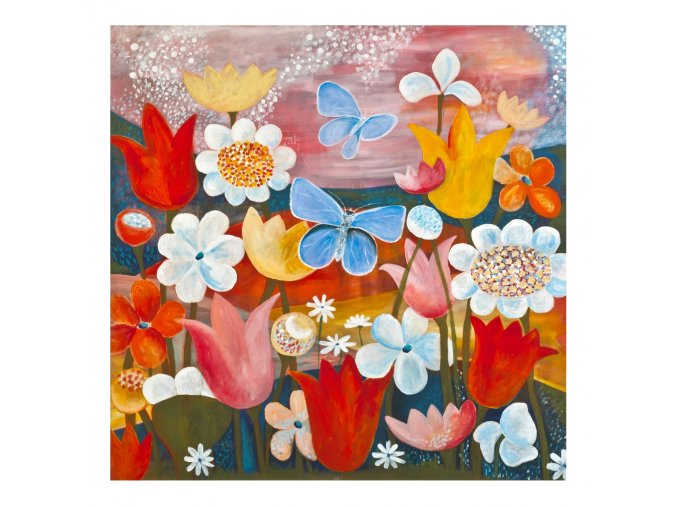 Modrásci - obrázek malý formát - BÍLÝ rámeček 21x21cm
