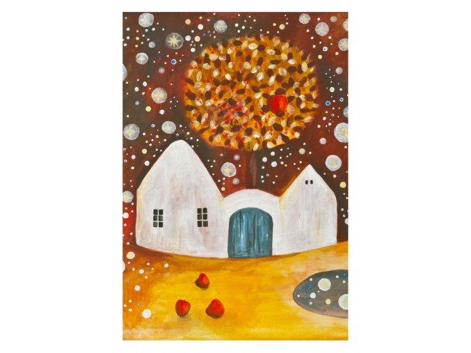Podzim - obrázek malý formát - BÍLÝ rámeček 21x29,7cm
