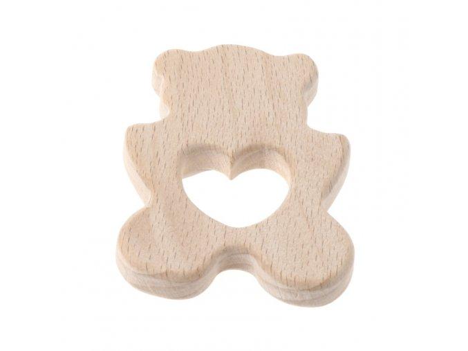 Dřevěné kousátko 80mm (1ks) - medvídek+srdce